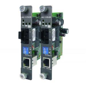 Module slide in pentru sasiu rack ce realizeaza conversia de la Ethernet la fibra optica