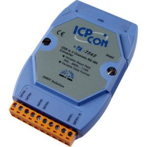 Convertor industrial bidirectional de la USB la 3 porturi RS-485 cu izolatie optica 3kV